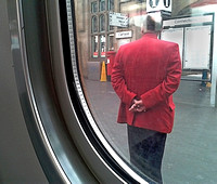 Red Coat Platform Man WIndow